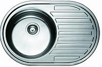 Мойка на кухню нержавеющая сталь круглая врезная с полочкой 77*50