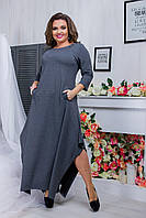 Сіра жіноча видовжене сукню з потайними внутрішніми кишенями. Арт-6427/51, фото 1