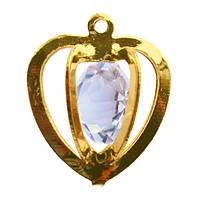 Подвеска Кулон Капля с Кристаллом, Металл, Цвет: Золото, выс 19 мм., шир 16 мм. толщ 11 мм.