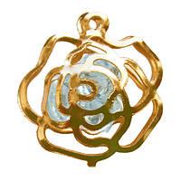 Подвеска Кулон Роза с Прозрачными Кристаллами, Металл, Цвет: Золото, выс 20 мм., шир 17 мм. толщ 6 мм.