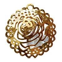 Подвеска Кулон Роза Большая с Прозрачными Кристаллами, Металл, Цвет: Золото, выс 25 мм., шир 25 мм. толщ 7 мм.