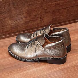 Туфли женские кожаные на низком каблуке и шнуровке серебристые размер 36, 37, 38, 39, 40
