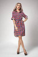 Летнее платье рубашка в сине  - красную клетку