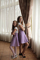 Платье на тонких бретелях сиреневое Ahsen с белым болеро