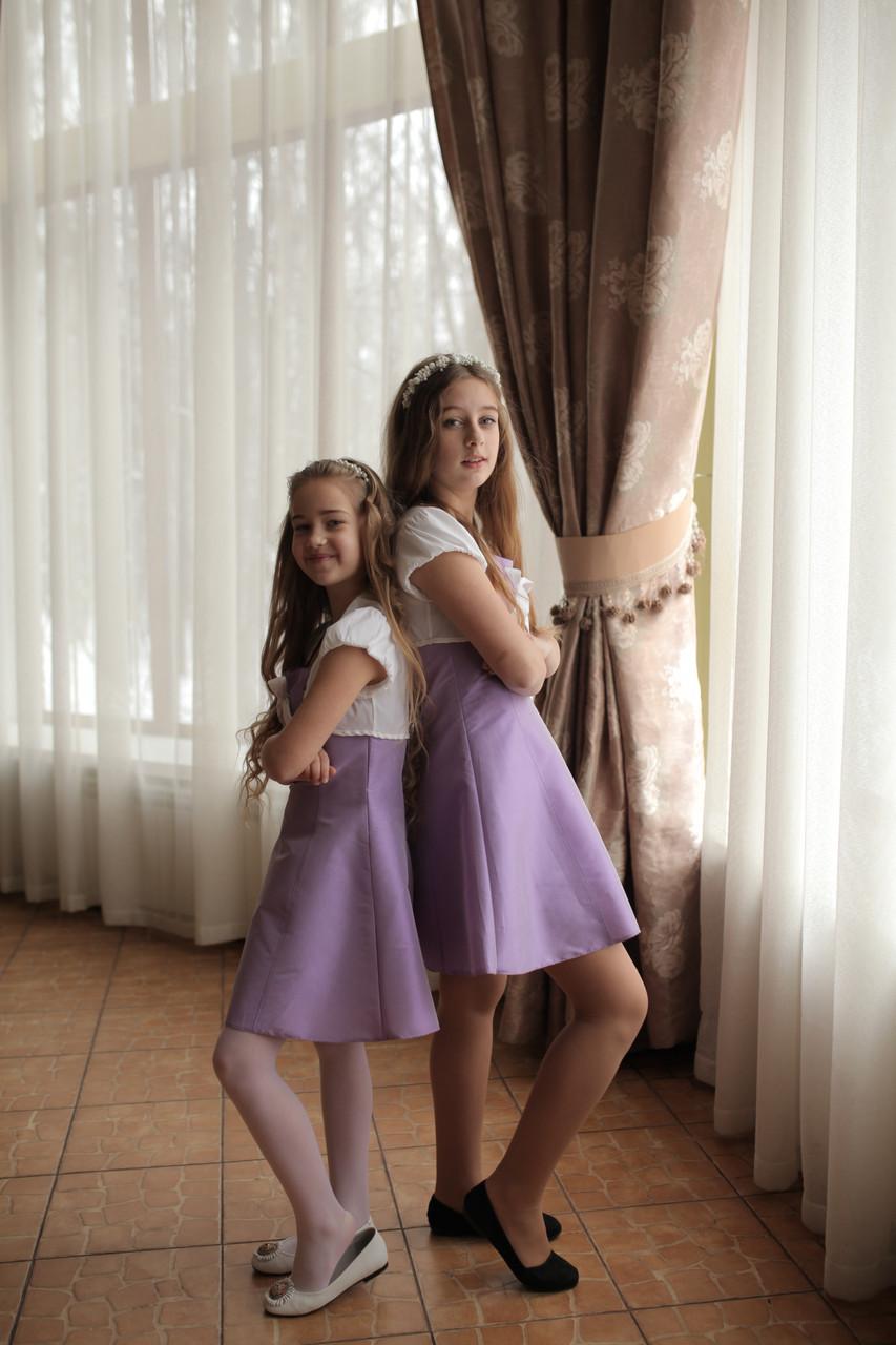 Платье на тонких бретелях сиреневое Ahsen с белым болеро, фото 1