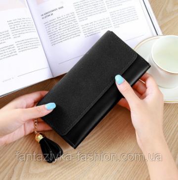 Кошелек портмоне черный женский с кисточкой