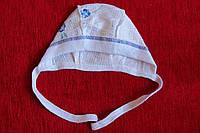 Чепчик хлопковый жатка рисунок голубая фиалка размер 48