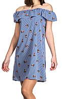 Платье с воланом/ цветочным принтом в полоску женское