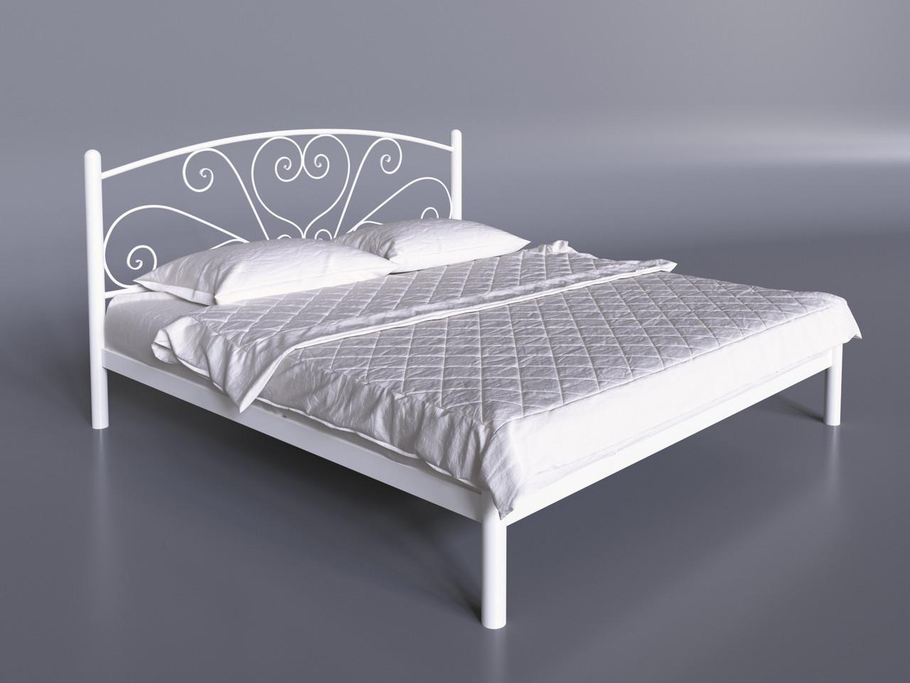 Двуспальная кровать Карисса Tenero белая с изголовьем на невысоких ножках металлическая
