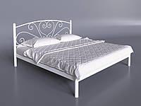 Двуспальная кровать Карисса Tenero белая с изголовьем на невысоких ножках металлическая, фото 1