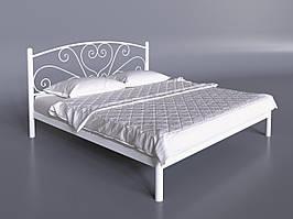 Двуспальная кровать Карисса Tenero с изголовьем на невысоких ножках белая металлическая