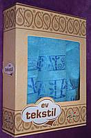 Набор махровых полотенец голубого цвета 3шт