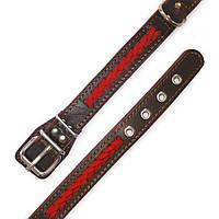Ошейник кожаный с плетением  для собак vip1