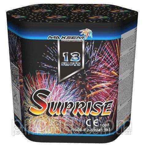 Салют + фонтан Surprise MC108 (13 выстрелов 30 калибром + фонтан)