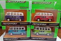 """Автобус металл 7827 """"АВТОПРОМ"""" 4 цвета, в коробке 12*7*6см"""