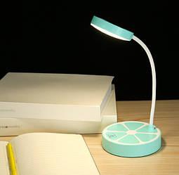 Лампа настольная светодиодная аккумуляторная LED голубая