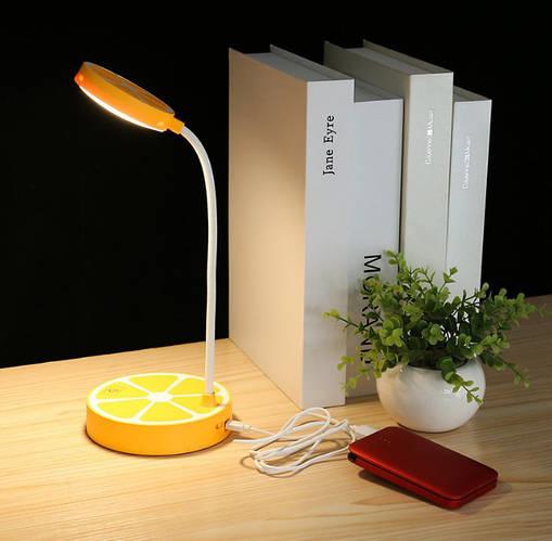 Лампа настольная светодиодная аккумуляторная LED желтая