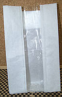 Бумажный пакет белый крафт 310х160х80 с полипропиленовой прозрачной вставкой 60 мм