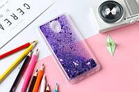 Чехол Бампер Glitter Жидкий блеск для Meizu M3 / M3s / M3 mini с блестками фиолетовый, фото 1