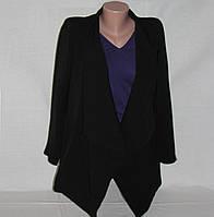 Кардиган женский пиджак удлиненный с волнистыми бортами р.42-44