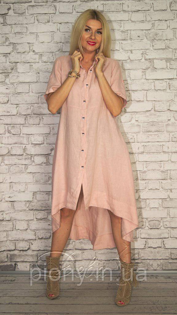 Женское Платье-Рубашка лен БАТАЛ