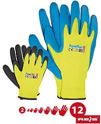 Рабочие перчатки покрытые латексом REIS Польша (перчатки защитные) FAMILIAR MIX-YBYN