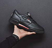 Мужские кроссовки Fila Fitness (черные), ТОП-реплика, фото 1
