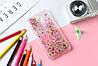 Чехол Бампер Glitter Жидкий блеск для Meizu M3 Note с блестками звезды розовый
