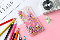 Чехол Бампер Glitter Жидкий блеск для Meizu M3 / M3s / M3 mini с блестками звезды розовый, фото 1