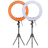 """Кольцевой LED осветитель ZOMEI (18"""") со стойкой и димером - для портретной, бьюти и селфи съемки"""
