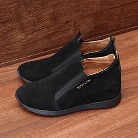 Туфли женские замшевые чёрные на скрытой танкетке и резинках размер 37, 38
