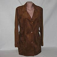 Куртка коричневая замшевая, пиджак женский батал р.48-50-52