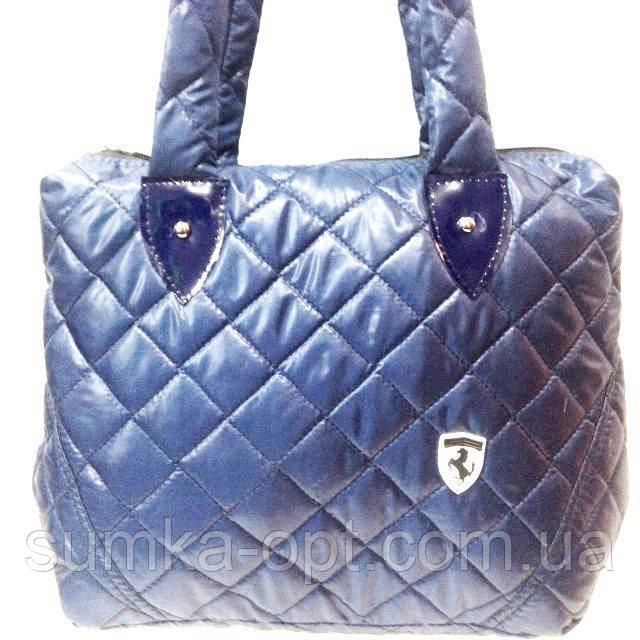 Стеганные сумки оптом Ferrari (син глянцевый)27*45