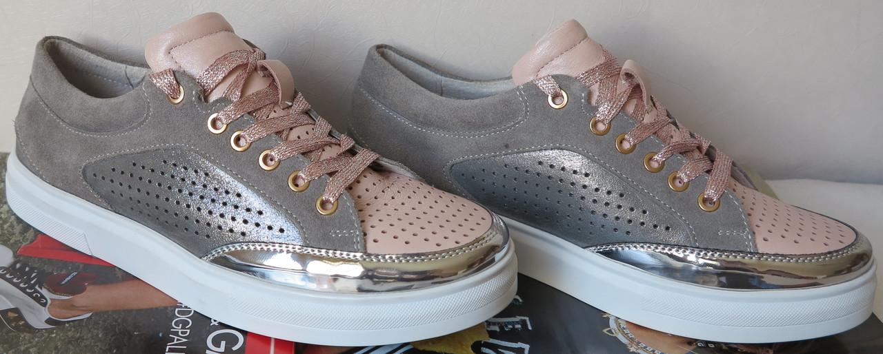 1ce72abd2035 Кеды First в стиле Chanel! женские весна лето серые с розовым  перфорированные кроссовки - LIMODA