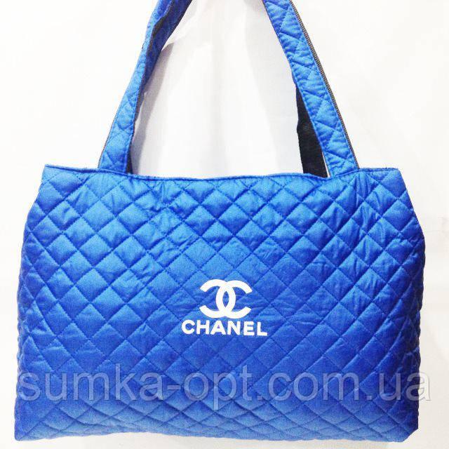 Женские стеганные сумки Chanel дешево опт (синий)26*50
