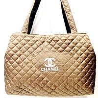 Женские стеганные сумки Chanel дешево опт (золото)26*50, фото 1