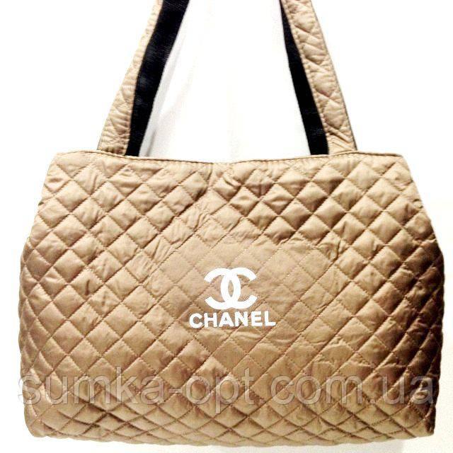 Женские стеганные сумки Chanel дешево опт (золото)26*50