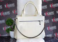 Кожаная женская сумка двухсторонняя цвет молоко., фото 1