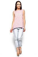 958295f26cb Легкая блуза с асимметричным низом без рукавов розовая