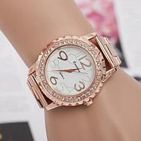 Часы женские сталь в стразах - Розовое золото