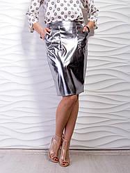 Молодежная юбка из эко-кожи металлик