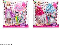 """Кукла типа """"Барби""""Модельер"""" BLD170/-1 4вид,платье-раскраска,наклейки,флом-ры,кор30*32*5,5см"""