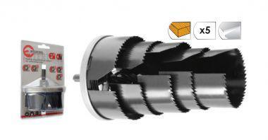 INTERTOOL Набор корончатых сверл по гипсокартону составной, 26-63 мм, 7 размеров, высота 43 мм, BT-0022