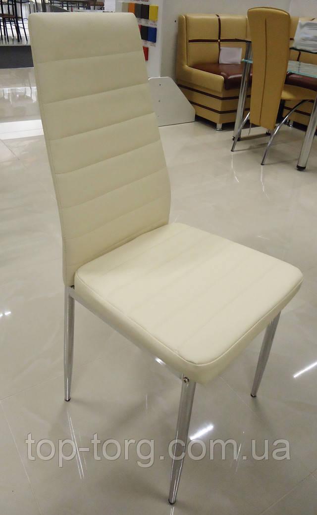 Стул С14 молочный (крем) C14 milk металический, спинка и сиденье кожзам с горизонтальными строчками. Ножки хром, блестящие