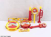 Муз.инструменты 3341 бубен,микрофон,дудка, губ.гармошка,гитара