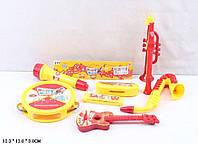 Муз.инструменты 3342 бубен,микрофон,дудка, труба, саксофон,губ.гармошка,гитара