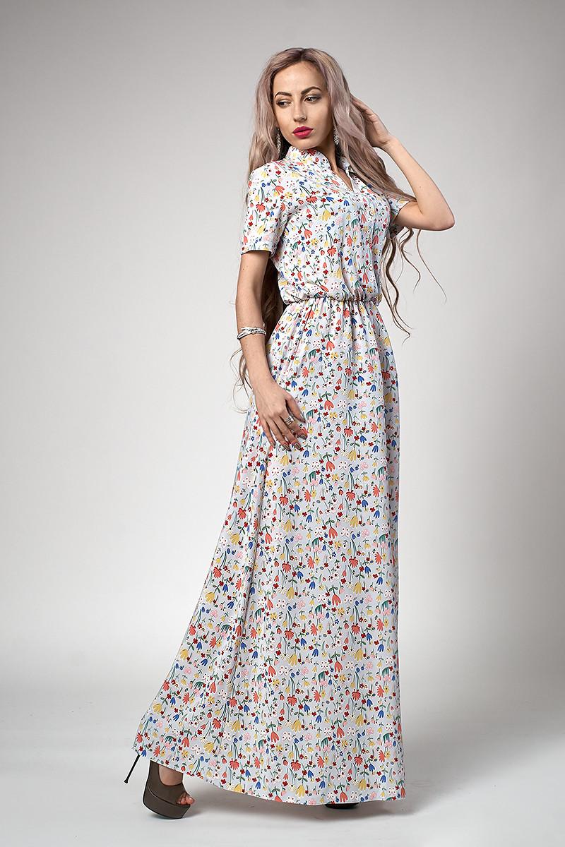Платье мод 523-11,размер 46 голубой тюльпан