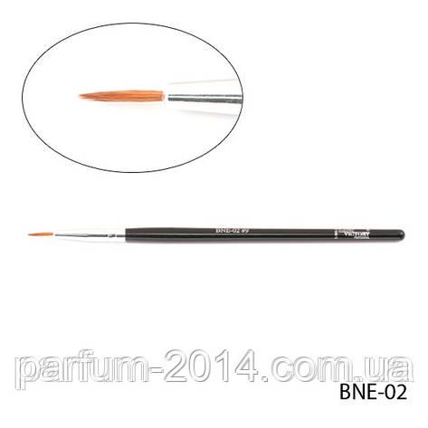 Тонкая натуральная кисть для подводки бровей, линии роста ресниц - ласка, BNE-02 №9, 5,5*1,3*30 mm, фото 2