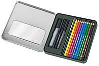 Набор акварельных карандашей  Faber-Castell  Albrecht Durer 12 цв. + PITT Pen в металлической коробке, 117540