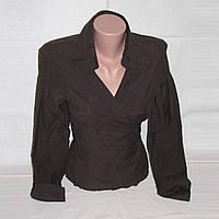 Коричневая блузка-рубашка на запах Stradivarius р.M